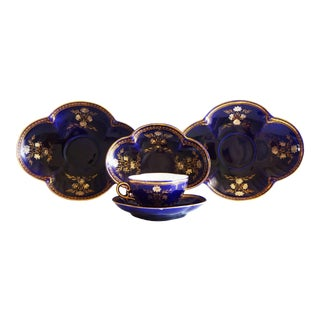Antique French Sarregeumines Quatrefoil Demitasse Cup and Saucer and Plate Set - Set of 5 For Sale