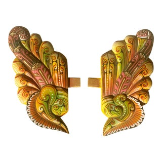 Hand-Painted Carved Wooden Wings - A Pair For Sale