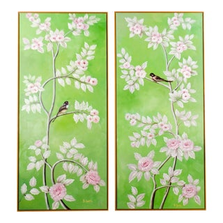 Green Floral Acrylic on Canvas Paintings by Z. Suan - a Pair