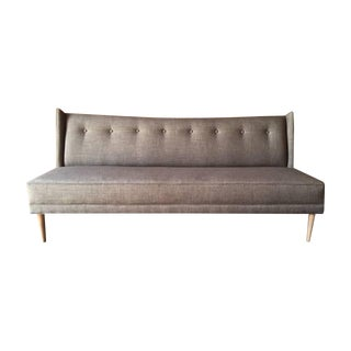Mid Century Style Custom Grey Brown Sofa For Sale
