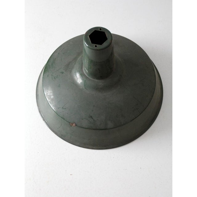Industrial Green Enamel Pendant Lamp Shade For Sale - Image 5 of 6
