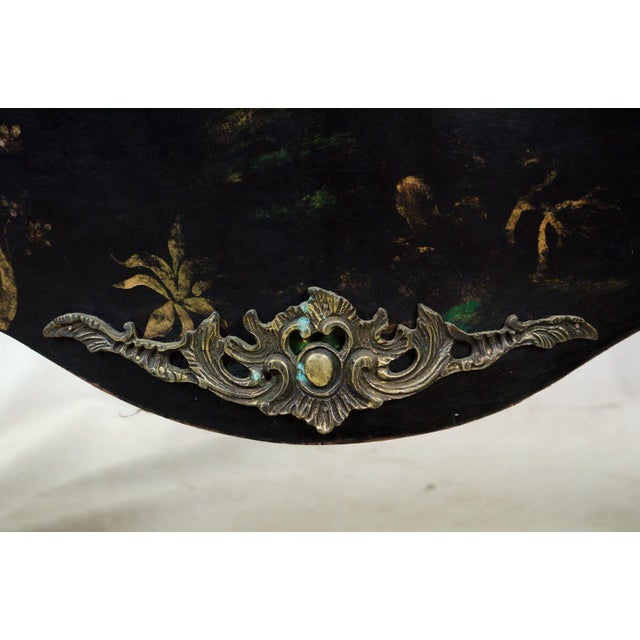 20th C. French Louis XV Style Chinoiserie Marble Top Bombe Commode For Sale - Image 10 of 13