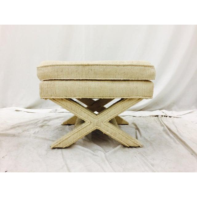 Hollywood Regency Vintage Corded Detail 'X' Bench For Sale - Image 3 of 8