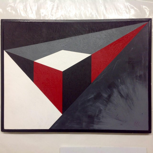 Abstract Geometric Acrylic Painting - Image 3 of 4