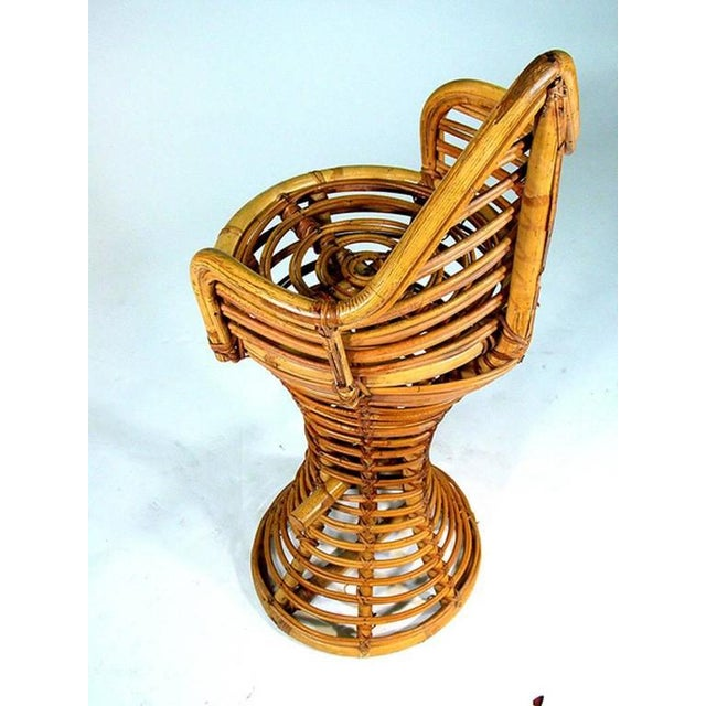 Restored Stick Rattan Bar Stools in the Manner of Albini, Set of Three - Image 5 of 6
