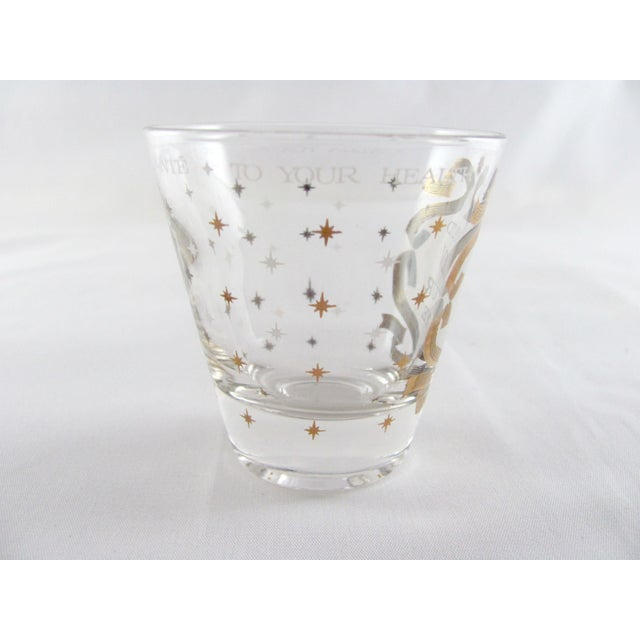 """Mid-Century Modern """"To Your Health"""" Gold Sunburst Glass Cocktail Pitcher Set - 8 Piece Set For Sale - Image 9 of 13"""