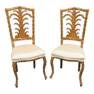 French Gold Gilt Leaf Carved Side Chairs- a Pair For Sale