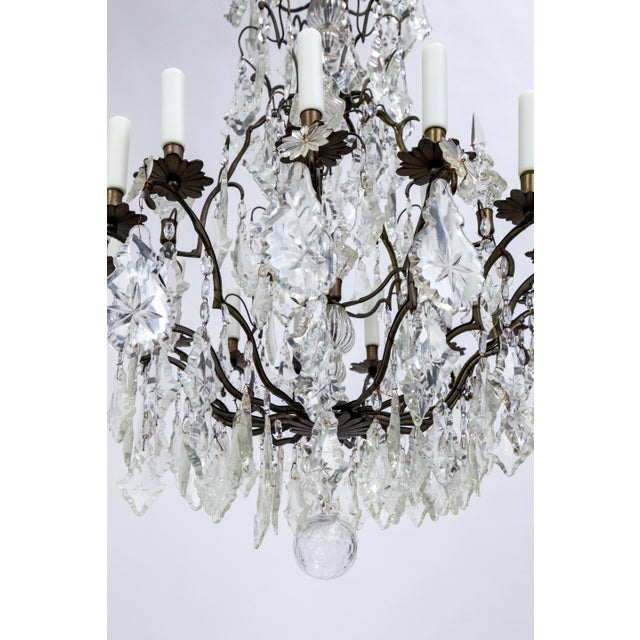Early 20th Century Multi Crystal 15-Arm Birdcage Chandelier For Sale - Image 11 of 13