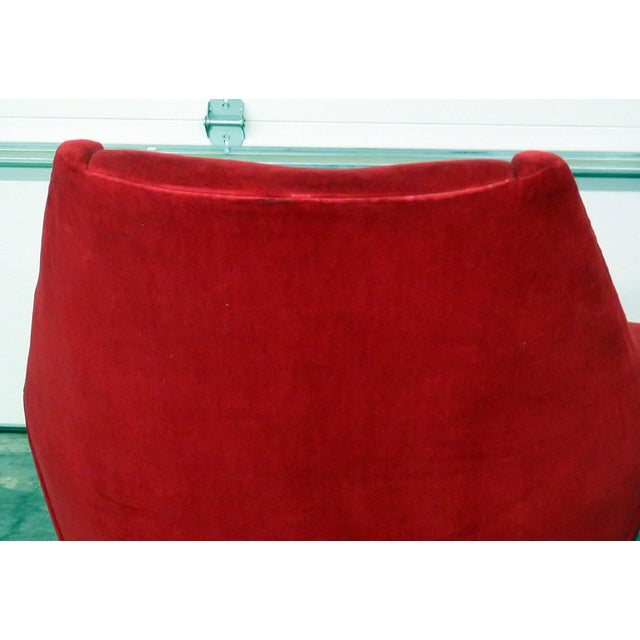 Red Mid 20th Century Red Italian Modern Lounge Chairs - a Pair For Sale - Image 8 of 9