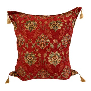 "Vintage Turkic Kilim Patterned Pillow Cover - 26""x26"" For Sale"