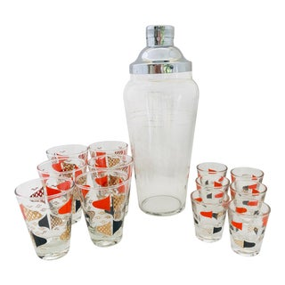 Mid-Century Glasses With Cocktail Shaker Set of 13 For Sale