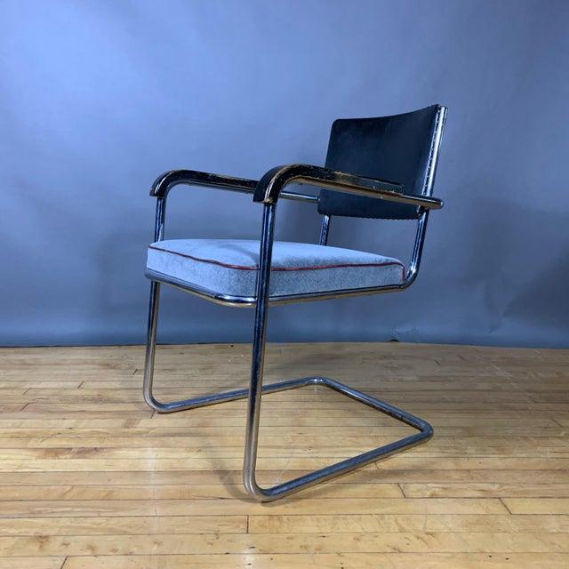 C1940 Tubular Chrome Cantilever Armchair, Velvet Seat For Sale - Image 9 of 9