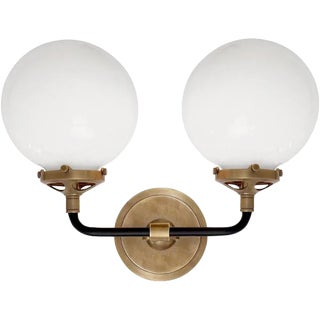 Visual Comfort Bistro Sconce in Antiqued Brass For Sale