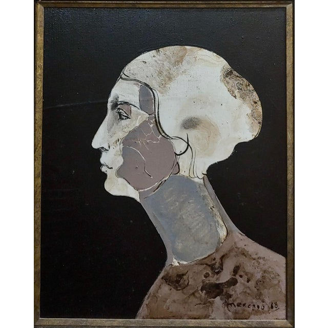 Surrealism Mercado -Surreal Portrait of a Woman -Oil Painting 1968 For Sale - Image 3 of 8