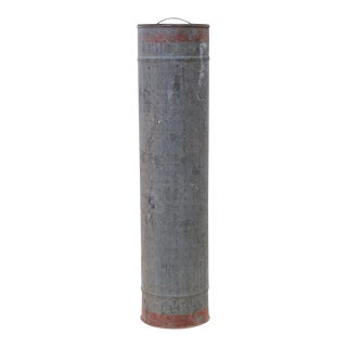 Tall Vintage Pierced Nautical Galvanized Tin Canister For Sale