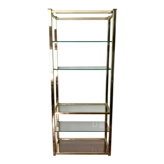 Vintage Brass & Glass Etagere