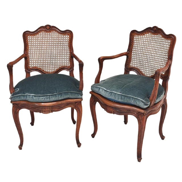 Early 20th Century French Louis XV Style Walnut Caned Fauteuils- a Pair For Sale