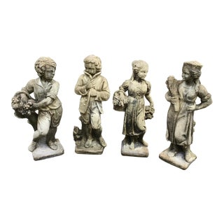 English Stone Four Seasons Garden Statues - Set of 4 For Sale