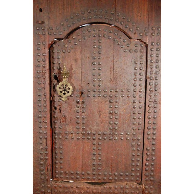 Moroccan Artist Moroccan Ryad Studded Moorish Antique Door For Sale - Image 4 of 8