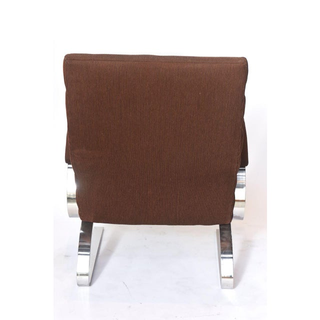 Brown Polished Chrome Chair and Ottoman by Milo Baughman for Thayer Coggin For Sale - Image 8 of 10