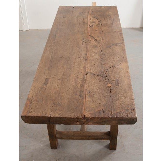 French 19th Century Oak Farmhouse Trestle Table For Sale - Image 9 of 11