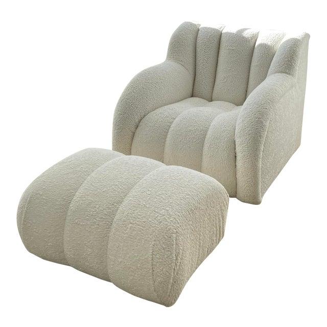 Postmodern Bouclé Clam Chair & Ottoman For Sale
