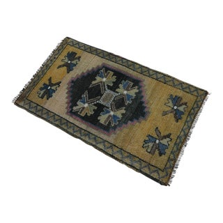 Distressed Low Pile Rug Turkish Yastik Small Rug Faded Colors Mat - 22'' X 37'' For Sale