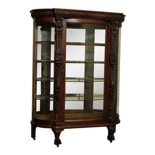 A. J. Johnson & Sons Victorian Antique Carved Bow Glass China Cabinet For Sale