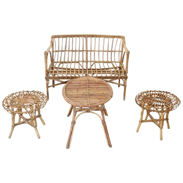 20th Century Italian Bamboo and Rattan Living Room Set of 4 Pieces, 1960s For Sale