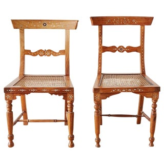 Pair of Anglo-Indian Koa Chairs With Bone Inlay For Sale