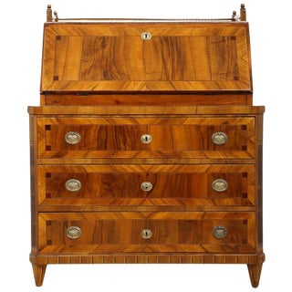 Early 19th Century Empire Fall-Front Secretaire in Walnut, Circa 1810 For Sale