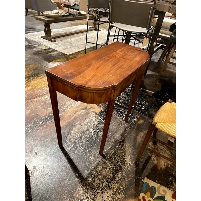 George III Mahogany and Inlaid Fold-Top Console Table For Sale - Image 9 of 12
