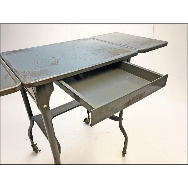 Gray Vintage Industrial Gray Metal Typewriter Table with Double Drop Leaf For Sale - Image 8 of 13