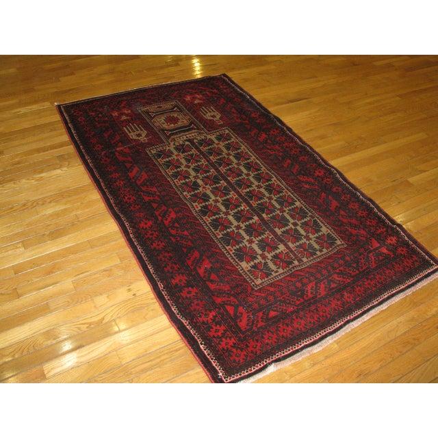 Small Vintage Handmade Afgani Rug - 3'7'' X 6'4'' - Image 4 of 4