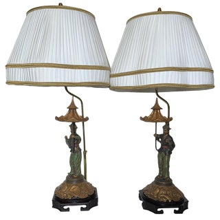 Mid Century Figurative Chinoiserie Lamps With Shades - a Pair For Sale