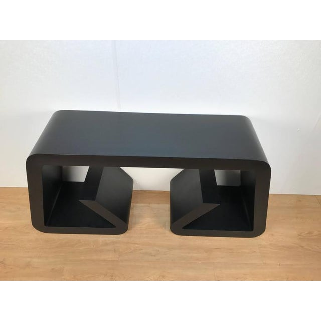 Black Lacquered Scroll Console Table - Image 3 of 4