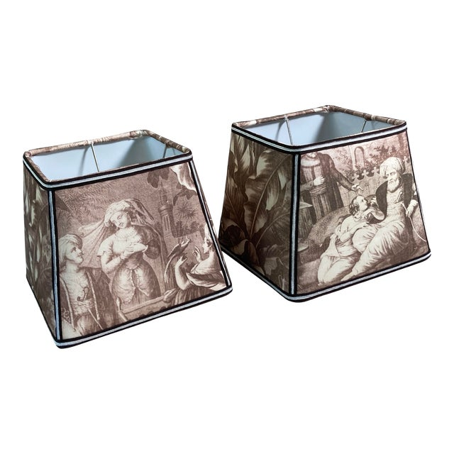 Sepia Toile Lampshades - a Pair For Sale