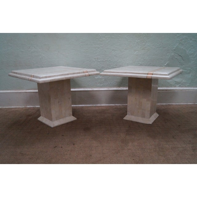 Maitland - Smith Maitland Smith Stone Marble Tables - A Pair For Sale - Image 4 of 10