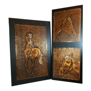 Vintage Copper Art Hammered Horses Sculpture Wall Art Hangings - A Pair For Sale