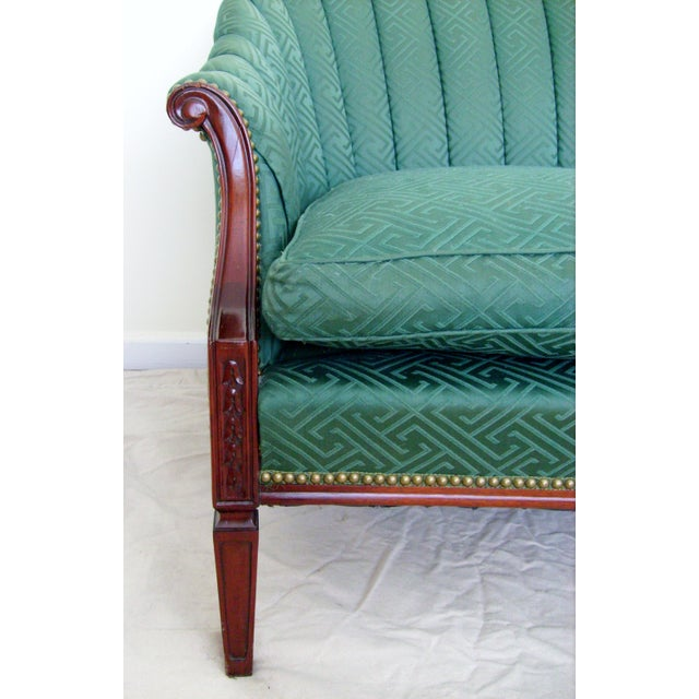 Vintage Green Channel Back Settee For Sale - Image 4 of 9