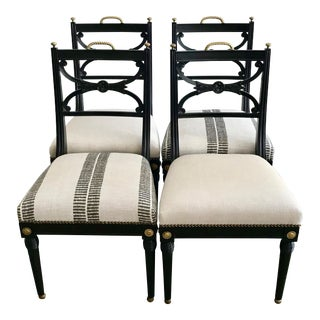 20th Century Neoclassical Style Side Chairs - Set of 2 Stripe Pattern