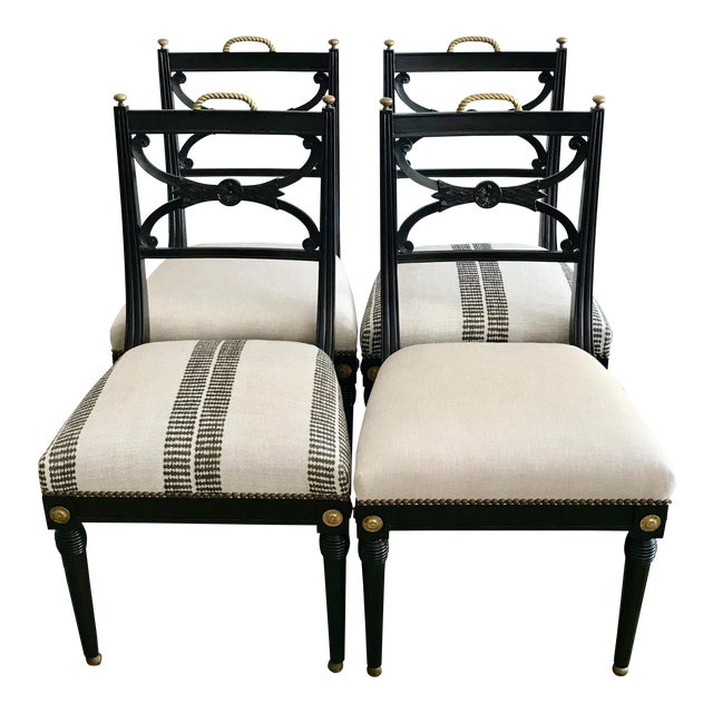 20th Century Neoclassical Style Side Chairs - Set of 2 Stripe Pattern For Sale