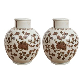 Large Brown and White Chinese Export Vases - A Pair For Sale