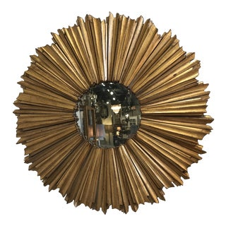 Hollywood Regency Gilt Sunburst Mirror For Sale