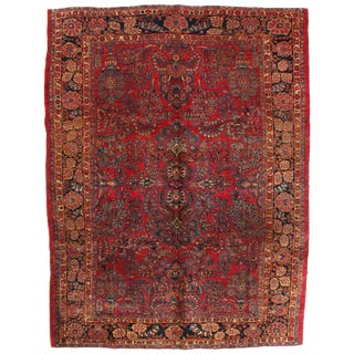 Early 20th Century Antique Persian Sarouk Rug - 8′6″ × 11′2″ For Sale