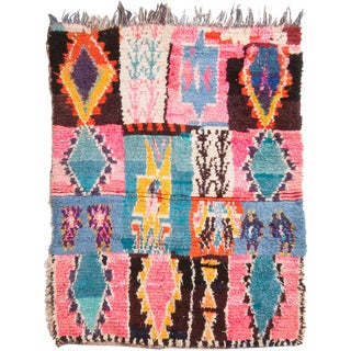 Vintage Mid-Century Moroccan Transitional Pink and Blue Wool Rug - 4′6″ × 6′ For Sale
