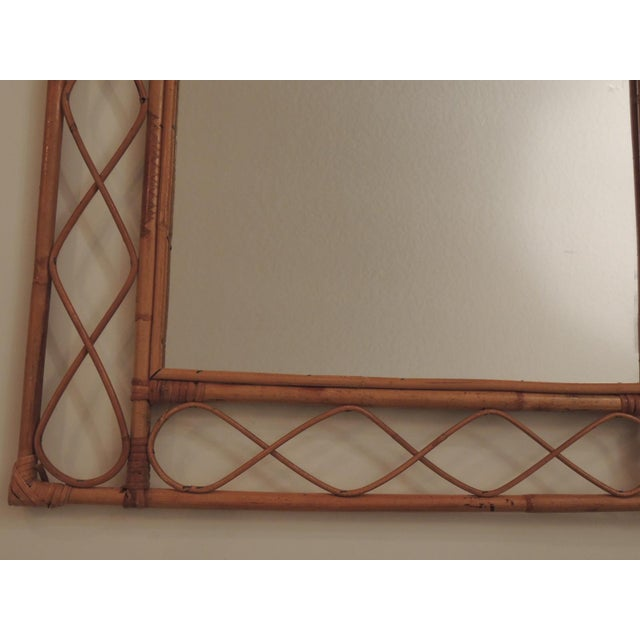 Vintage Bamboo and Rattan Wall Mirror For Sale - Image 4 of 6
