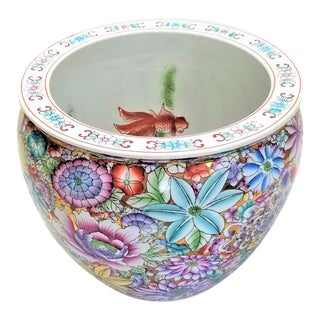 Vintage Chinese Ceramic Porcelain Famille Rose Jardiniere Planter With Koi Fish For Sale