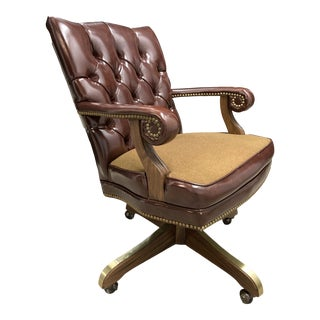 Mid-Century Modern Swivel-Tilt Scrolled Arm Tufted Leather Executive Chair For Sale