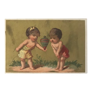 Antique 19th-Century Chromolithograph French Publicity Card of Two Children and a Top For Sale